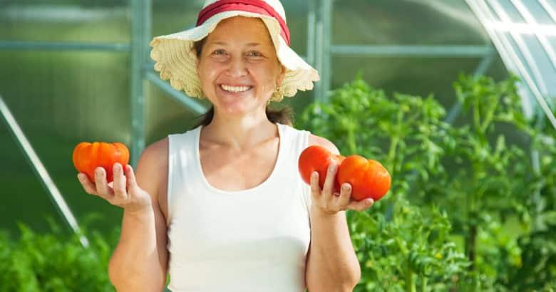 montar uma horta saudável - mulher com tomate em estufa