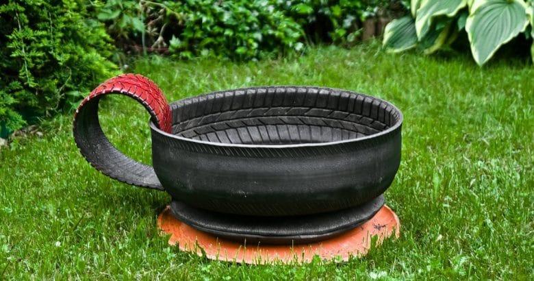 Reciclagem De Pneus, Grama, Verde, Ouro, Pintado | Como Fazer um Jardim Com Pneus – Artesanato Sustentável e Lindo
